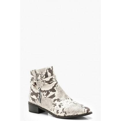 Snake Zip Side Chelsea Boots in Grey