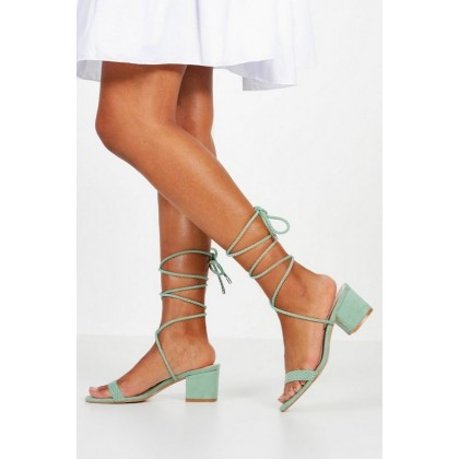 Block Heel Plait Strap Sandals in Sage