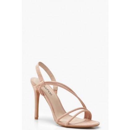 Asymmetric Strap Heels in Pink