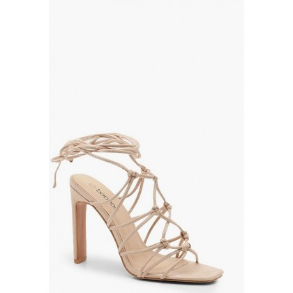 Caged Front Flat Heel Sandals in Nude