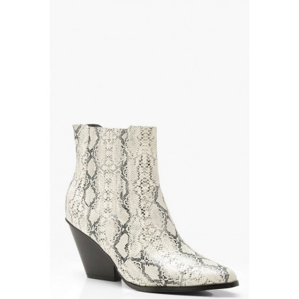 Western Style Snake Print Ankle Boots in Grey