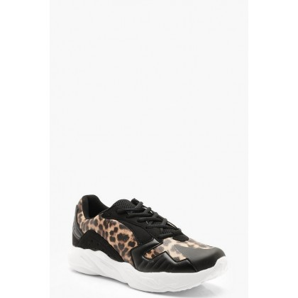 Leopard Panel Chunky Sneakers in Black