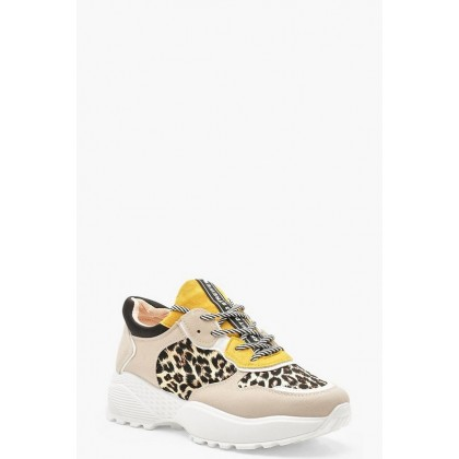 Colour Block Leopard Print Chunky Sneakers in Grey