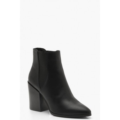 Pointed Chelsea Style Western Boots in Black