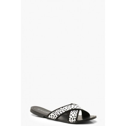 Animal Print Cross Strap Sliders in Black