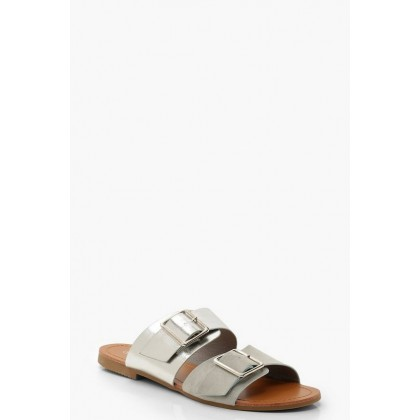 Double Buckle Contrast Sliders in Silver