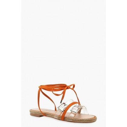 Clear Strap Wrap Espadrille Sandals in Orange