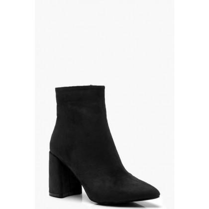Block Heel Shoe Boots in Black