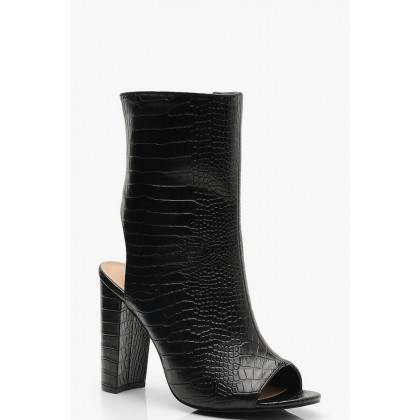 Wide Fit Croc Peeptoe Shoe Boots in Black