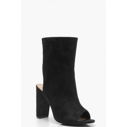 Wide Fit Peeptoe Shoe Boots in Black