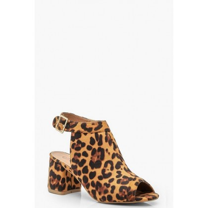 Extra Wide Fit Leopard Peeptoe Shoe Boots in Black