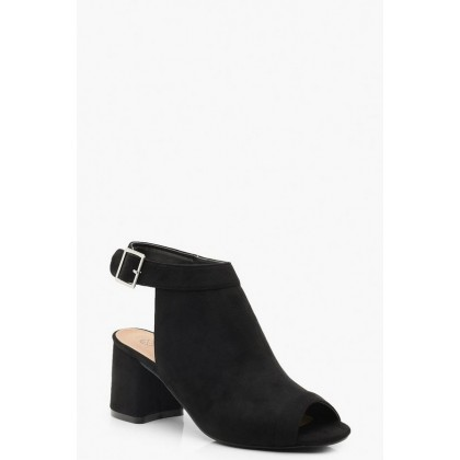 Extra Wide Fit Peeptoe Shoe Boots in Black