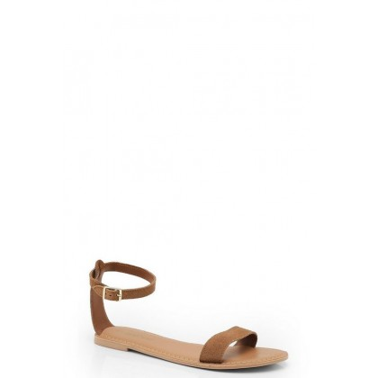 2 Part Suede Sandals in Tan