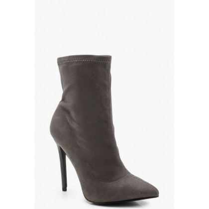 Pointed Toe Stiletto Sock Boots in Grey