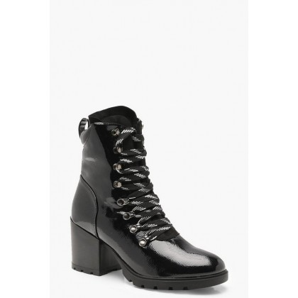High Patent Chunky Hiker Boots in Black
