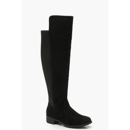 Wide Fit Elastic Back Flat Knee High Boots in Black