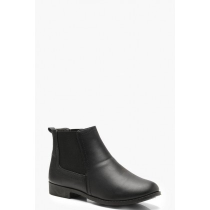 Wide Fit Flat Chelsea Boots in Black