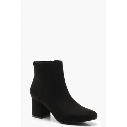 Block Low Heel Ankle Shoe Boots in Black