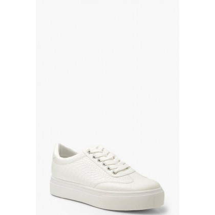 Snake Effect Platform Sneakers in White