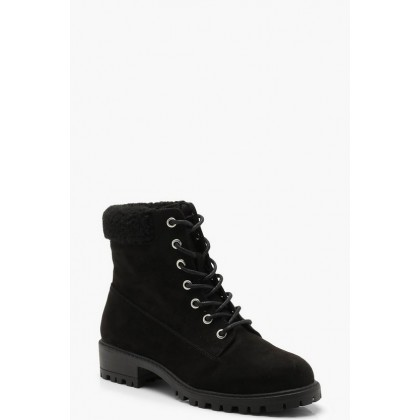 Shearling Collar Hiker Boots in Black