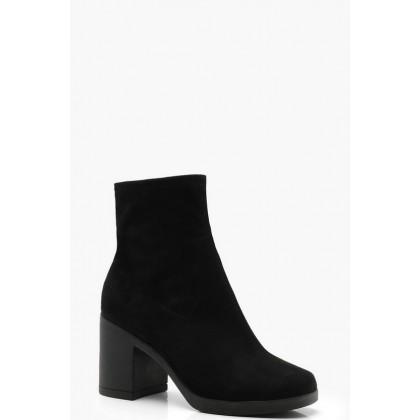 Block Heel Sock Boots in Black