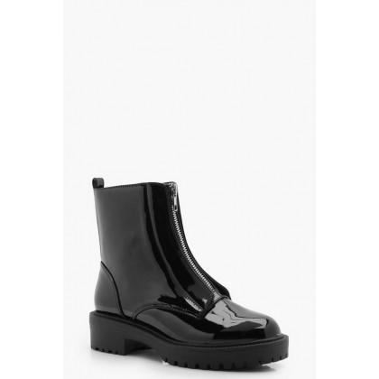 Zip Front Biker Boots in Black