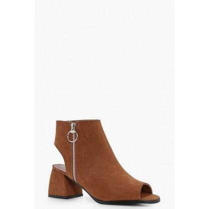 Ring Detail Peeptoe Shoe Boots in Tan