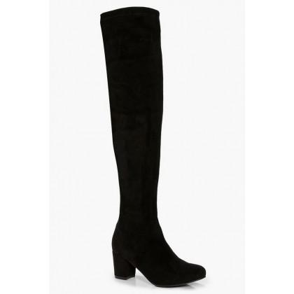Block Heel Stretch Knee High Boots in Black
