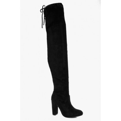 Block Heel Tie Back Thigh High Boots in Black