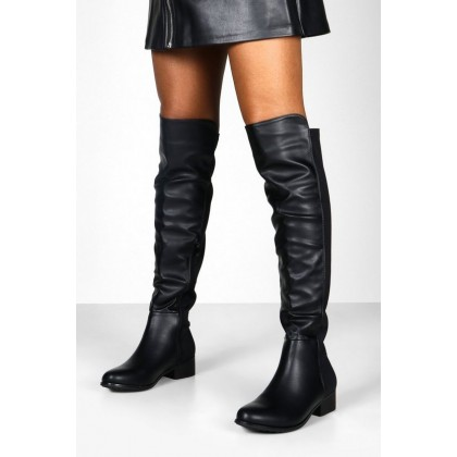 Elastic Back Over The Knee Boots in Black