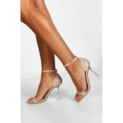 2 Part Interest Clear Heels in Nude