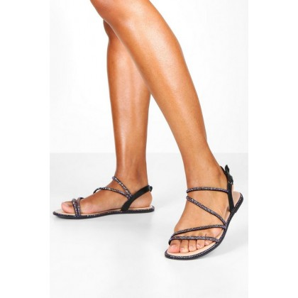 Diamante Strappy Sandals in Black