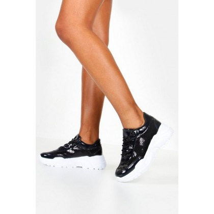 Sequin Panel Chunky Sole Lace Up Sneakers in Black
