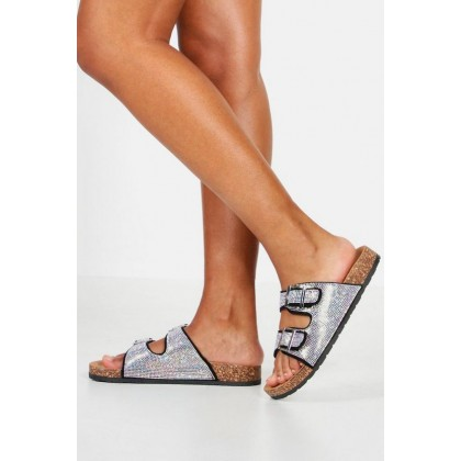 Diamante Double Strap Footbed Sliders in Black