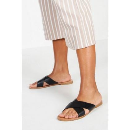 Cross Strap Basic Sliders in Black