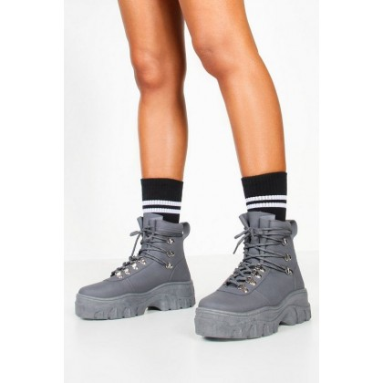 Lace Up Hiker Trainers in Grey