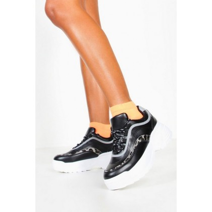 Tonal Leopard Contrast Panel Trainers in Black