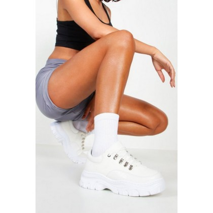 Croc Panel Chunky Hiker Trainers in White