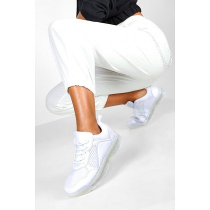Transparent Sole Lace Up Sports Trainers in White