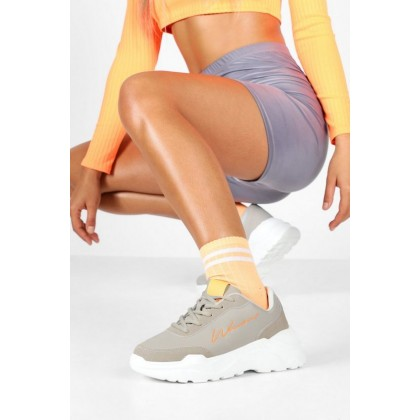 Embroidered Woman Slogan Chunky Trainers in Grey