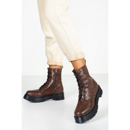 Snake Chunky Platform Hiker Boots in Brown