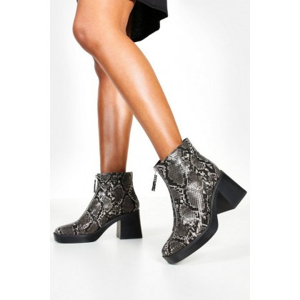 Zip Front Snake Chunky Boots in Black