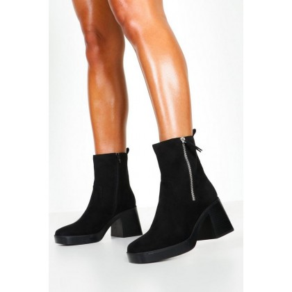 Zip Side Chunky Sole Boots in Black