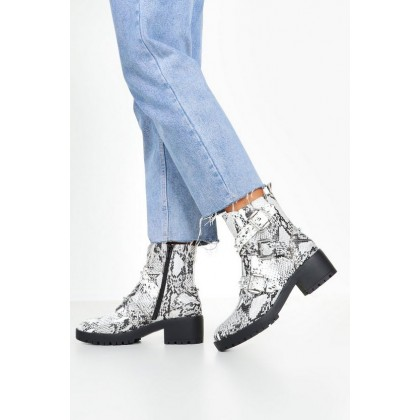 Stud Snake Chunky Hiker Boots in Grey