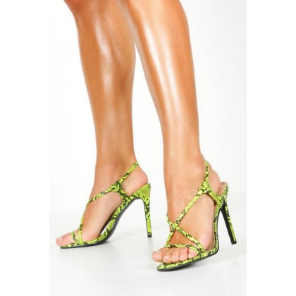 Lime Snake Strappy Heel Sandals in Lime