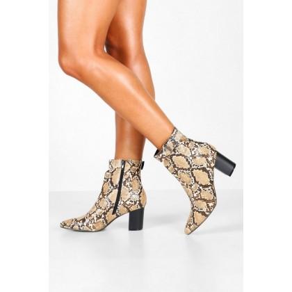 Snake Belt Detail Pointed Shoe Boots in Beige