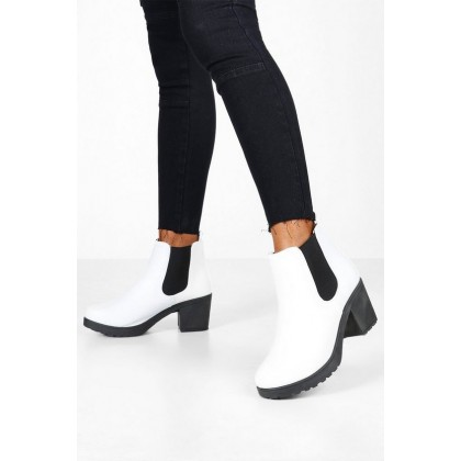 Wide Fit Chunky Chelsea Boots in White