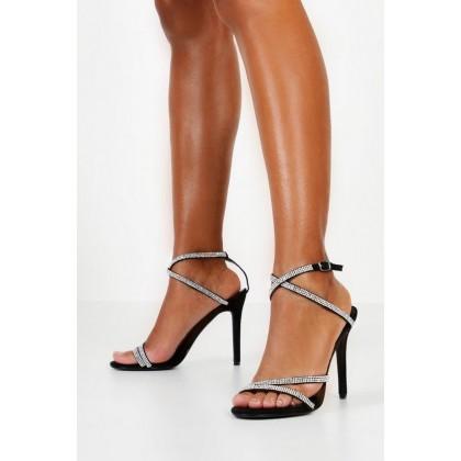 Embellished Multi Strap Heel Sandals in Black