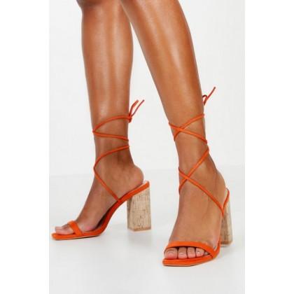 Cork Heel Wrap Sandals in Orange