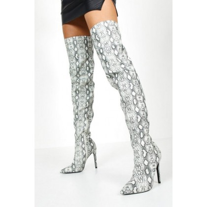 Reflective Snake Thigh High Boots in Grey